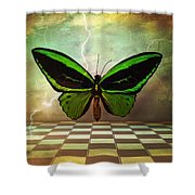 Large Green Wings Shower Curtain