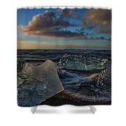 Large Icebergs At Dawn #4 - Iceland Shower Curtain