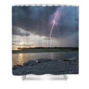 Large Lighting From Dark Clouds During Sunset At Large Lake Shower Curtain