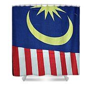 Large Malaysia Flag On Doorway Georgetown Penang Malaysia Shower Curtain