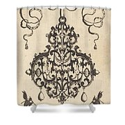 Large Pendant, Two Winged Fantasy Creatures With Trumpets At Bottom Shower Curtain