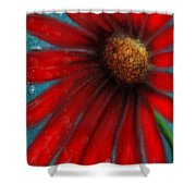 Large Red Flower Shower Curtain