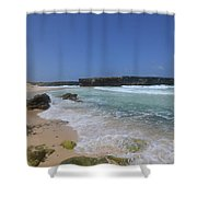 Large Rock Formation On The Beach At Boca Keto Shower Curtain