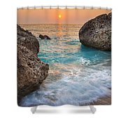 Large Rocks And Wave With Sunset On Paradise Island Greece Shower Curtain