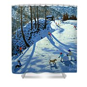 Large Snowball Zermatt Shower Curtain by Andrew Macara