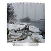 Large Stones Covered With Snow Shower Curtain