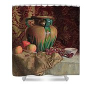 Large Vase With Apples Shower Curtain