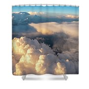 Large White Cloud From Passanger Airplace Window At Sunset Shower Curtain