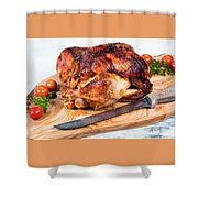 Large Whole Chicken Ready To Be Carved On Wooden Server Board  Shower Curtain