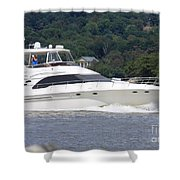Larger Boat On The Hudson River Shower Curtain