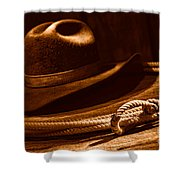 Lariat And Hat - Sepia Shower Curtain