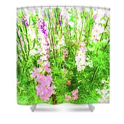 Larkspur Flowers In Soft Oil Style Shower Curtain