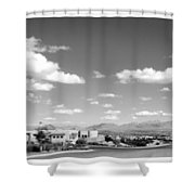 Las Cruces Mountains Black And White Shower Curtain