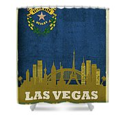 Las Vegas City Skyline State Flag Of Nevada Art Poster Series 018 Shower Curtain