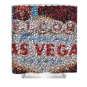 Las Vegas Sign Poker Chip Mosaic Shower Curtain