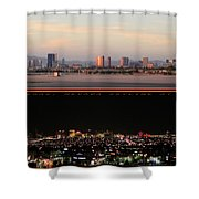 Las Vegas Skyline At Dawn And At Night Shower Curtain
