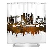 Las Vegas Skyline City Brown Shower Curtain