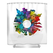 Las Vegas Small World Cityscape Skyline Abstract Shower Curtain