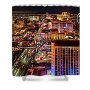 Las Vegas Strip North View Night 2 To 1 Ratio Shower Curtain