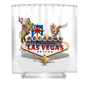 Las Vegas Symbolic Sign On White Shower Curtain