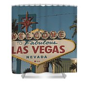 Las Vegas Welcome Sign With Vegas Strip In Background Shower Curtain