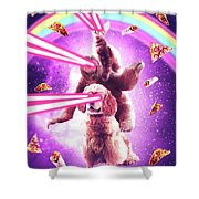 Laser Eyes Space Cat Riding Sloth, Dog - Rainbow Shower Curtain