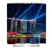 Laser Show At Mbs Singapore Shower Curtain by Yew Kwang