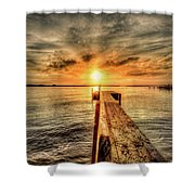 Last Call At Sunset Dock Shower Curtain