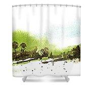 Last Green Of The Season Shower Curtain