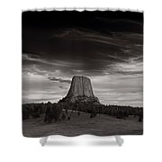 Last Light On Devils Tower Bw Shower Curtain