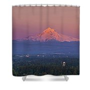 Last Light On Mount Hood From Rocky Butte Shower Curtain