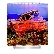 Last Red Boat Shower Curtain
