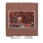 Late Autumn Avenue H A With Decorative Ornate Printed Frame. Shower Curtain