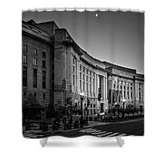Late Evening At The Ronald Reagan Building In Black And White Shower Curtain
