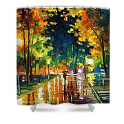 Late Night - Palette Knife Oil Painting On Canvas By Leonid Afremov Shower Curtain