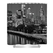 Late Night Philly Grayscale Shower Curtain