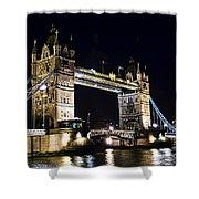 Late Night Tower Bridge Shower Curtain by Elena Elisseeva