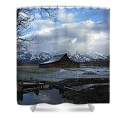 Late Snow On South Moulton Barn Shower Curtain