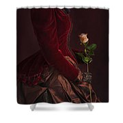 Late Victorian Woman In A Crimson Velvet Jacket And Dress Holdin Shower Curtain