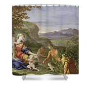 Latona And The Frogs Shower Curtain