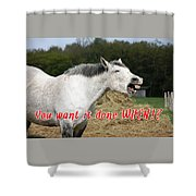 Laughing Horse Done When? Shower Curtain