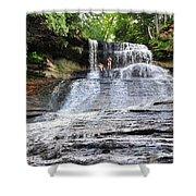 Laughing Whitefish Waterfall In Michigan Shower Curtain