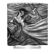 Laughter On The Swings Black And White Shower Curtain