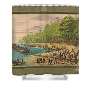 Launching Of The Griffin.  July 1679 Shower Curtain