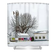 Laundry Drying In Winter Shower Curtain
