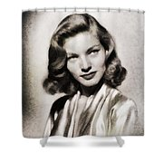 Lauren Bacall, Vintage Actress Shower Curtain