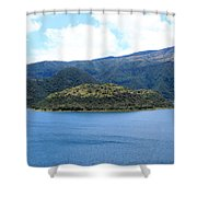 Lava Dome Island In Lake Cuicocha Shower Curtain