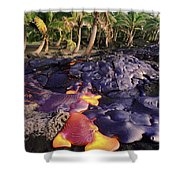 Lava Flow And Palms Shower Curtain