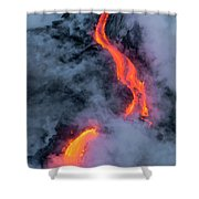 Lava Flowing Into The Ocean 20 Shower Curtain by Jim Thompson