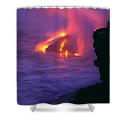 Lava Meets Ocean Action Shower Curtain